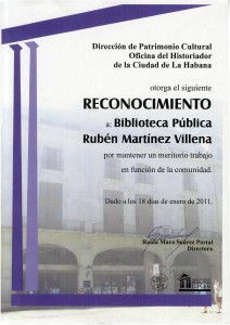 Reconocimiento a la biblioteca