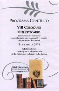 Programa VIII Coloquio Bibliotecario