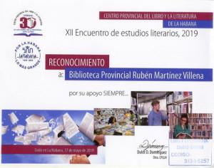 Reconocimiento XII Encuentro de estudios literarios 2019